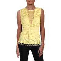 Aqua Womens Peplum Top Lace Illusion