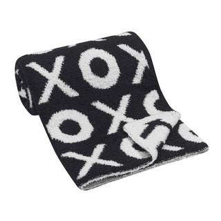 Lambs & Ivy Black Chenille Blanket  XOXO