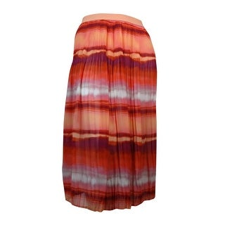 NY Collection Women's Tie-Dyed Pleated Chiffon Maxi Skirt - Sunset