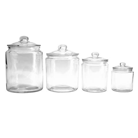 Mason Craft & More 4PC Glass Top Canisters with Glass Lid