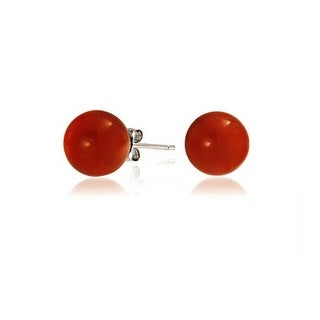 Bling Jewelry Silver Plated Bead Round Dyed Carnelian Gemstone Ball Studs