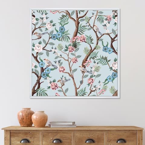 Designart 'Chinoiserie With Birds and Peonies X' Traditional Framed Canvas Wall Art Print