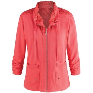 Women's Wear Anywhere Zip-Front Track Jacket - Pink - Front Pockets