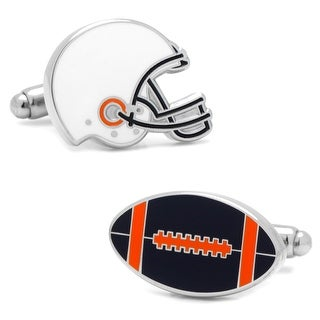 Varsity Football Navy, Orange, and White Cufflinks