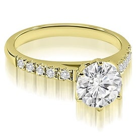 0.70 cttw. 14K Yellow Gold Cathedral Round Cut Diamond Engagement Ring