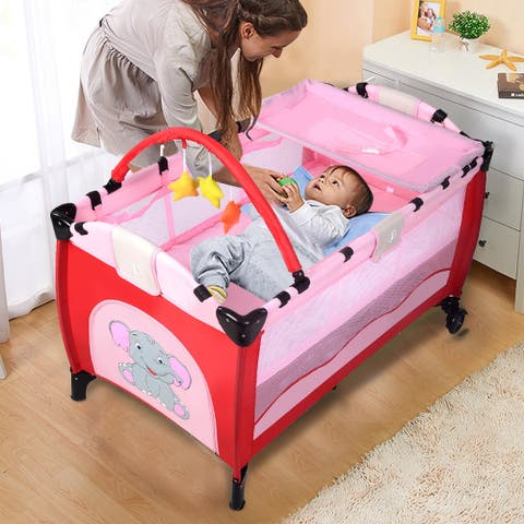 Pink Baby Crib Playpen Playard Pack Travel Infant Bassinet Bed