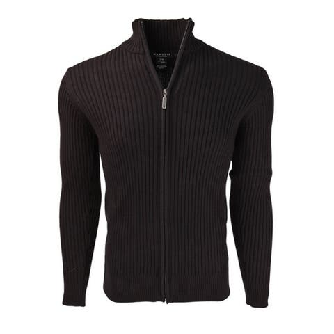 Marquis Men's Full Zip Cotton Ribbed Mock Neck Sweater