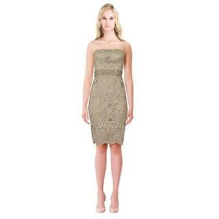 Sue WongBeaded Embellished Strapless Cocktail Evening Dress - 10
