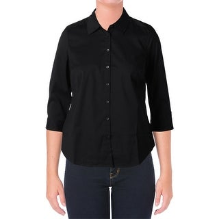 NYDJ Womens Button-Down Top Fitted 3/4 Sleeves