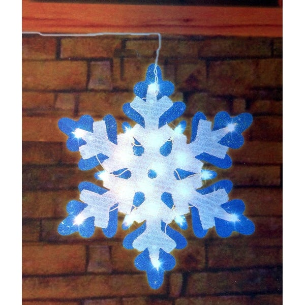 "21"" Lighted Blue & White Tinsel Snowflake Christmas Window Silhouette Decoration"