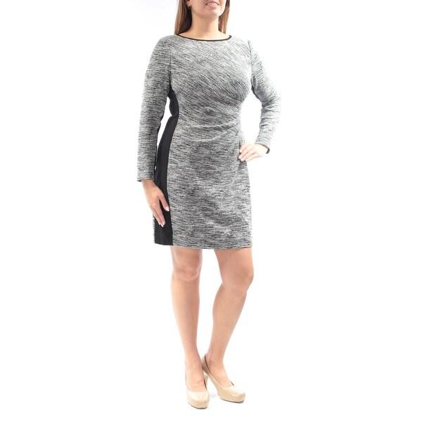 RALPH LAUREN Womens Gray Zippered Printed Long Sleeve Jewel Neck Mini Sheath Dress Size: 12