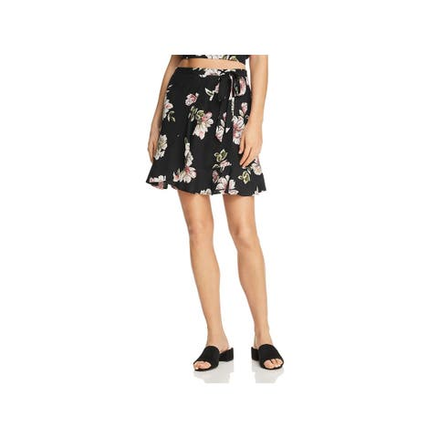 Band of Gypsies Womens Hibiscus Mini Skirt Floral Ruffled - L