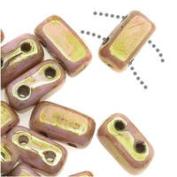 CzechMates Glass 2-Hole Brick Beads 6x3mm - Opaque Rose Luster / Gold Topaz
