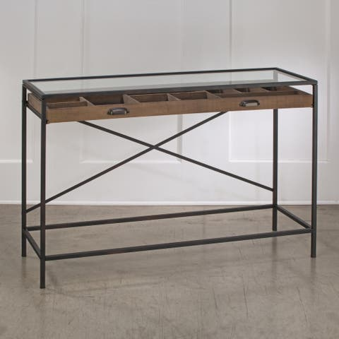 Glass Top Console Table with 1 Wooden Drawer