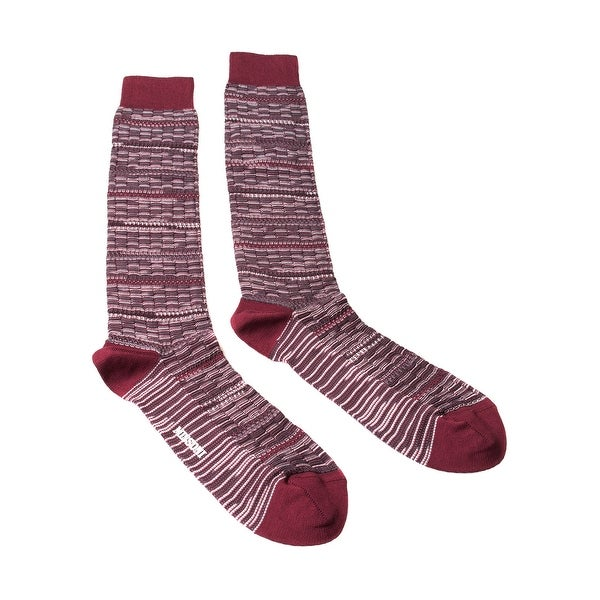 Missoni GM00CMU5245 0002 Maroon/Gray Knee Length Socks - M