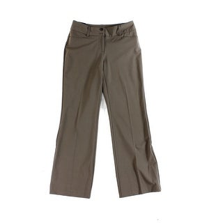 Alfani NEW Brown Gray Womens Size 10 Flat-Front Wide-Leg Trouser Pants