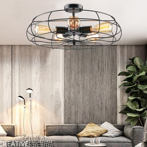 "CO-Z 19"" 5-Light Semi Flush Mount Industrial Matte Black Ceiling Light"