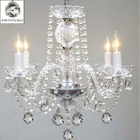 Swag Plug In Venetian Style All Crystal Chandelier Lighting H17 x W17