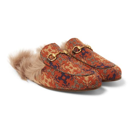 GUCCI Men's Princetown Shearling-Lined Jacquard Loafers