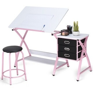 Costway Drafting Table Art & Craft Drawing Desk Art Hobby Folding Adjustable w/Stool - as pic