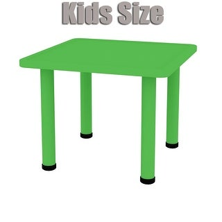 2xhome - Green - Kids Table - Height Adjustable 18.25 inches to 19.25 inches Square Plastic Activity Table Metal Legs for Play