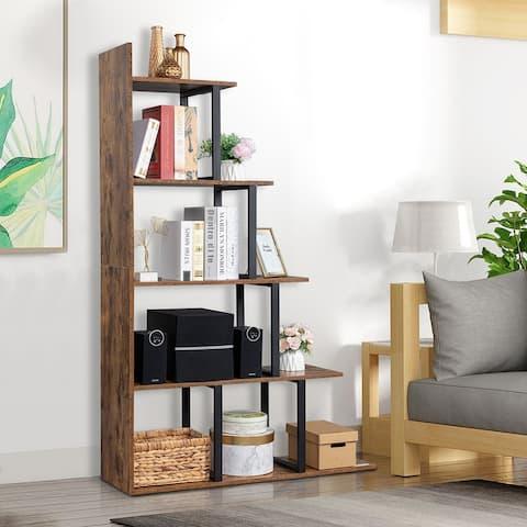 Wooden 5-Tier Bookshelf,Freestanding Bookcase Storage Display Rack