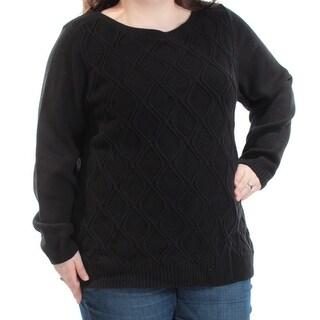 KAREN SCOTT $29 Womens New 1018 Black Jewel Neck Long Sleeve Top 2X Plus B+B