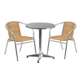 Skovde 3pcs Round 23.5'' Aluminum Table w/2 Beige Rattan Chairs