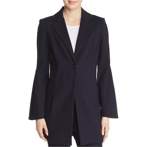 Elie Tahari Womens Athea Flare Sleeve One Button Blazer Jacket, Blue, Large