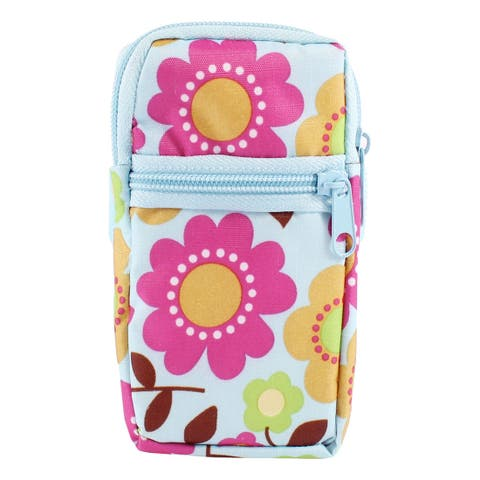 Unique Bargains Fuchsia Light Blue Sunflowers Printed Elastic Wrist Band Mobile Phone Bag Pouch