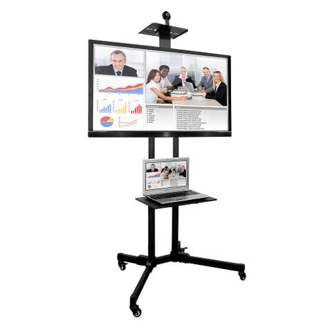 Mount-It! TV Cart Mobile TV Stand with Shelf