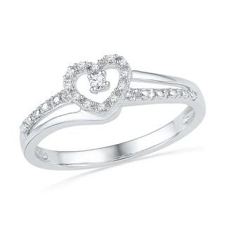 1/20Ctw Diamond Fashion Heart Ring White-Gold 10K