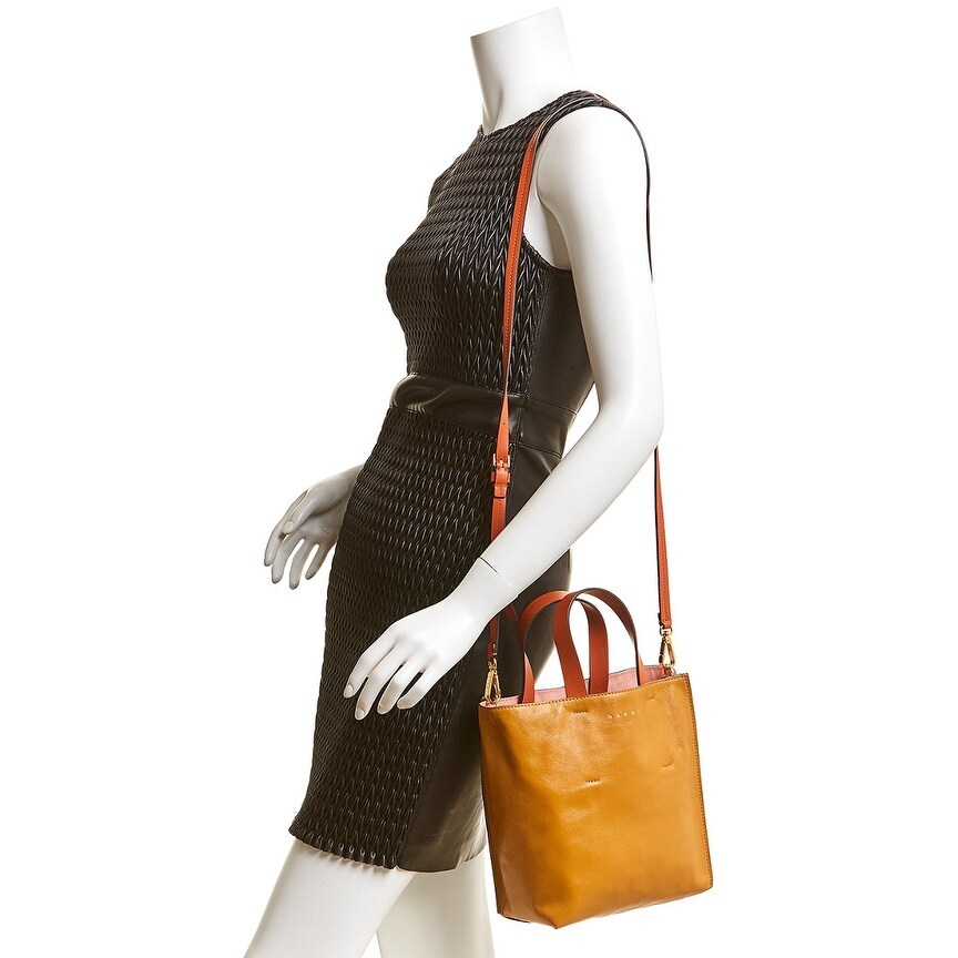 shop marni logo stamp leather tote overstock 32361926 overstock com