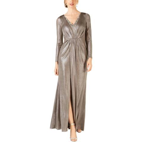 Adrianna Papell Womens Petites Evening Dress Metallic Beaded