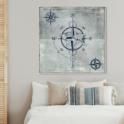 Oliver Gal 'Compass in Blue' Map Blue Wall Art Canvas