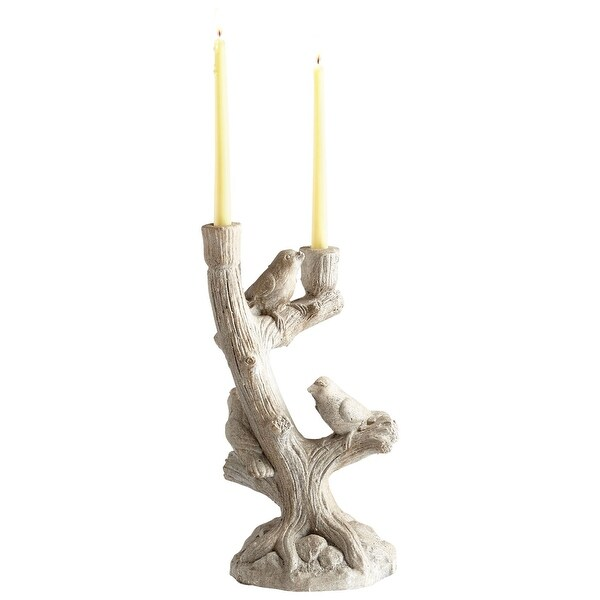 Cyan Design 09019 Look Out Cement Candlestick Candle Holder - Weathered Stone