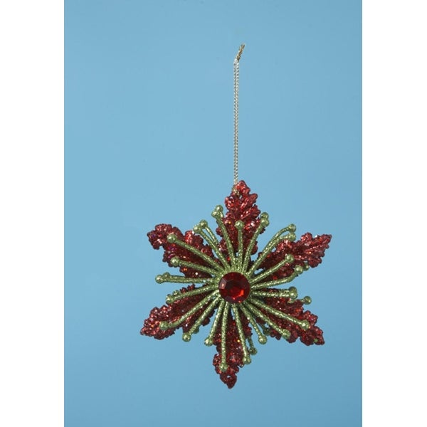 """4"""" Christmas Brights Red & Green Glitter Drenched Poinsettia Holiday Ornament"""