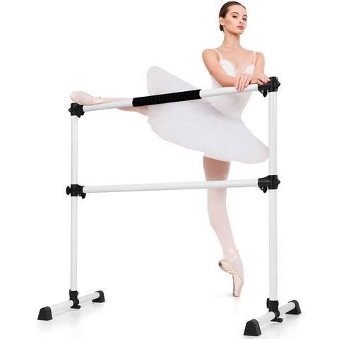 Goplus Portable Ballet Barre 4ft Freestanding Adjustable Double Dance