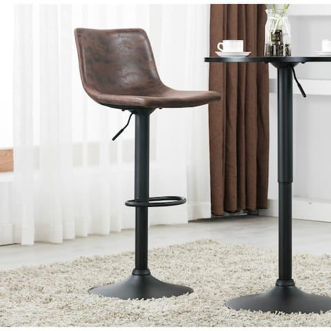 Carbon Loft Welliver Metal Upholstered Vintage Brown Adjustable Bar Counter Stool Chair (Set of 2)