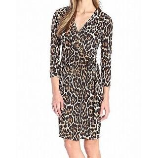 Anne Klein Brown Womens Size 2 Faux-Wrap Printed Sheath Dress