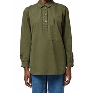 TopShop NEW Green Women's Size 2 Henley Front Pocket High Low Knit Top