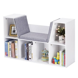 Costway 6 Cubby Kid Storage Cabinet Bookcase Multi-Purpose Shelf Cushioned Reading Nook - White