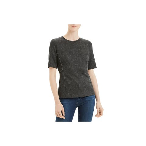 Theory Womens Petites Top Wool Blend Fitted - Charcoal - P