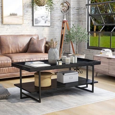Furniture of America Alivia Rustic Black 47-inch 1-shelf Coffee Table