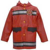 Wippette Baby Boys Red Fire Department Motif Hooded Raincoat 12M