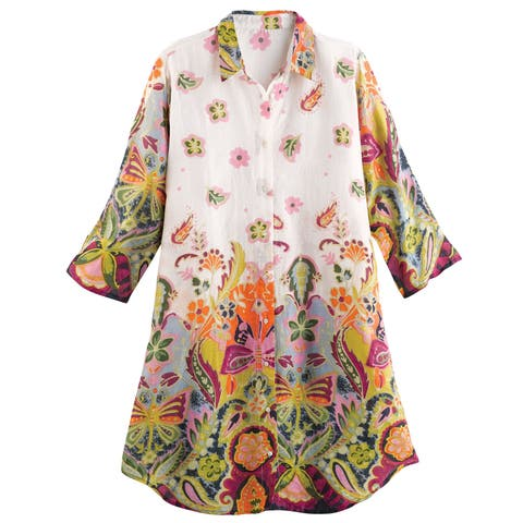 Catalog Classics Women's Floral Print Long Tunic Top - 3/4 Sleeve Button Front