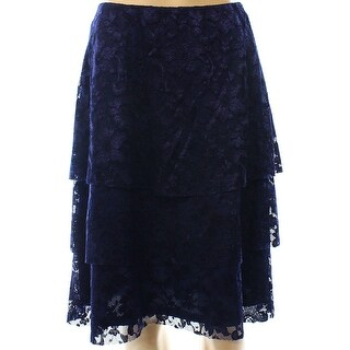 MSK NEW Navy Blue Womens Size XL Floral Lace Pull-On Tiered Skirt