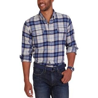 Nautica Mens Button-Down Shirt Flannel Plaid
