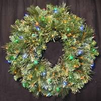 Christmas at Winterland WL-GWBM-02-L5M 24 Inch Pre-Lit Multicolor LED Blended Pine Wreath Indoor / Outdoor