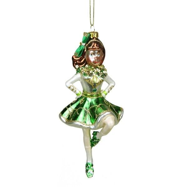 "6"" Luck of the Irish Celtic Dancer Girl Glittered St. Patrick's Day Glass Christmas Ornament"
